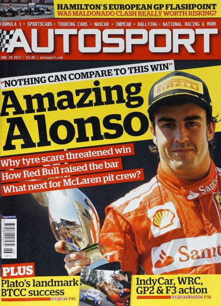 Cover of Autosport magazine, 28th June 2012