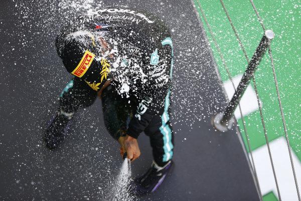 Lewis Hamilton, Mercedes-AMG Petronas F1, celebrates on the podium