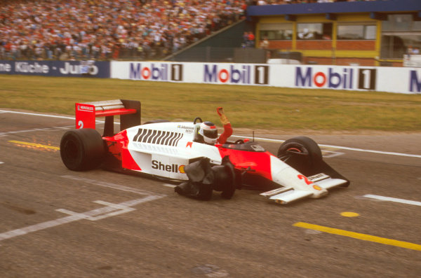 Hockenheim, Germany.24-26 July 1987.Stefan Johansson (McLaren MP4/3 TAG Porsche) finishing in 2nd position with only three wheels left on the car, after a puncture. Ref-87 GER 02.World Copyright - LAT Photographic