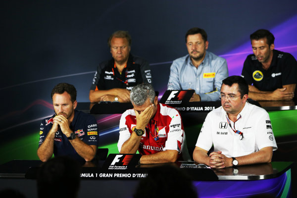 Autodromo Nazionale di Monza, Monza, Italy. Friday 4 September 2015. Christian Horner, Team Principal, Red Bull Racing, Mauricio Arrivabene, Team Principal, Ferrari, and Eric Boullier, Racing Director, McLaren, in the Team Principals Press Conference. World Copyright: Jed Leicester/LAT Photographic ref: Digital Image JL2_8015