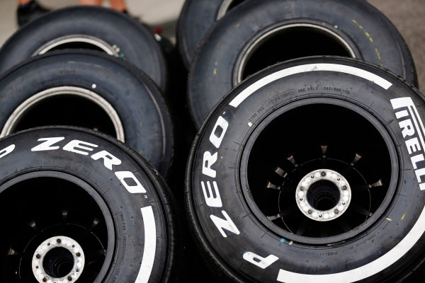 Suzuka Circuit, Suzuka, Japan.  Saturday 26 September 2015. Tyres ready for use. World Copyright: Alastair Staley/LAT Photographic ref: Digital Image _R6T1479
