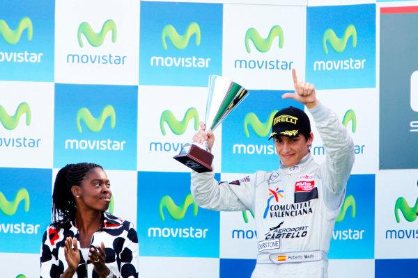 Round 3. Valencia, Spain. 27th June 2010.Sunday Race.Roberto Merhi, (ESP, Atech CRS GP) celebrates on the podium. Portrait. World Copyright: Glenn Dunbar/GP3 Media Service.Digital Image _G7C0780