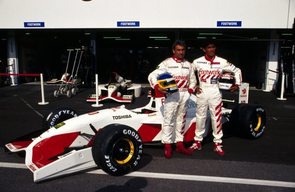 L-R: Michele Alboreto (ITA) Footwork with teammate Aguri Suzuki (JPN) and the Footwork Mugen-Honda FA13.