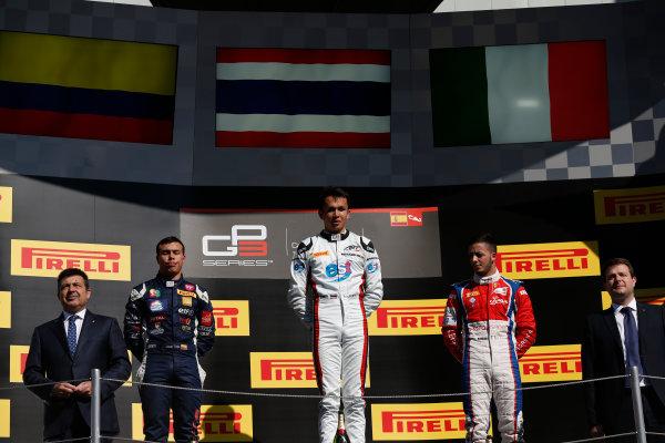 2016 GP3 Series Round 1 Circuit de Catalunya, Barcelona, Spain. Sunday 15 May 2016. Alexander Albon (THA, ART Grand Prix), Oscar Tunjo (COL, Jenzer Motorsport) & Antonio Fuoco (ITA, Trident)  Photo: Sam Bloxham/GP3 Series Media Service. ref: Digital Image _R6T9451