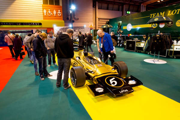 Autosport International Exhibition.  National Exhibition Centre, Birmingham, UK. Saturday 16 January 2016.  The Classic Team Lotus stand. World Copyright: Mike Hoyer/LAT Photographic. ref: Digital Image 4ED28123