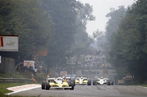 1981 Italian Grand PrixMonza, Italy. 11-13 September 1981.Alain Prost (Renault RE30) leads Didier Pironi (Ferrari 126CK), Rene Arnoux (Renault RE30) and Alan Jones (Williams FW07C-Ford Cosworth). Prost finished in 1st position. Ref - 81ITA05.World Copyright - LAT Photographic