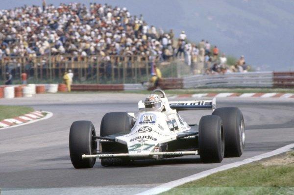 1980 Austrian Grand Prix.Osterreichring, Zeltweg, Austria. 15-17 August 1980.Alan Jones (Williams FW07B-Ford Cosworth), 2nd position.World Copyright: LAT PhotographicRef: 35mm transparency 80AUT09