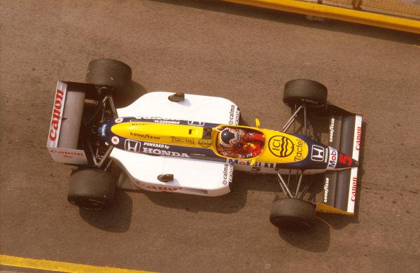 Imola, Italy. 1-3 May 1987. Nigel Mansell (Williams FW11B Honda) 1st position. Ref-87 SM 03. World Copyright - LAT Photographic
