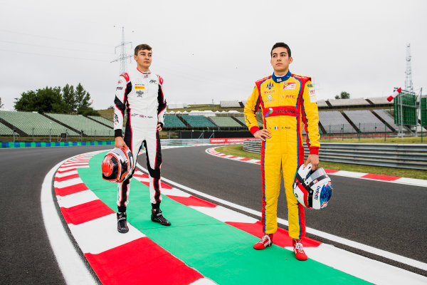 2017 GP3 Series Round 4.  Hungaroring, Budapest, Hungary. Thursday 27 July 2017. George Russell (GBR, ART Grand Prix) and Giuliano Alesi (FRA, Trident).  Photo: Zak Mauger/GP3 Series Media Service. ref: Digital Image _56I0097