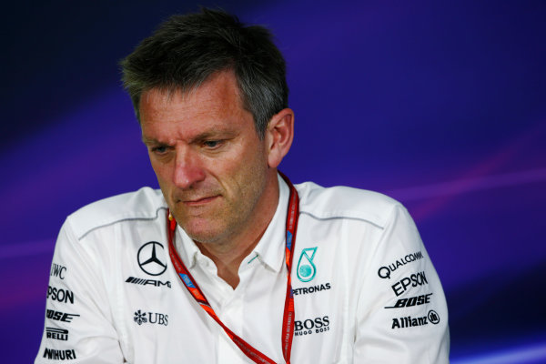 Circuit Gilles Villeneuve, Montreal, Canada. Friday 09 June 2017. James Allison, Technical Director, Mercedes AMGGuenther Steiner, Team Principal, Haas F1, in the Team Principals Press Conference. World Copyright: Andy Hone/LAT Images ref: Digital Image _ONZ0656