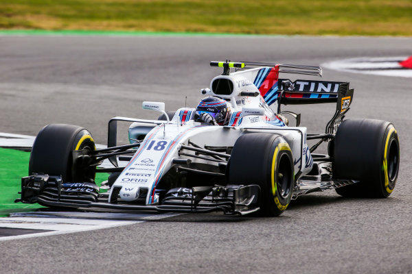 Silverstone, Northamptonshire, UK.  Friday 14 July 2017. Lance Stroll, Williams FW40 Mercedes. World Copyright: Charles Coates/LAT Images  ref: Digital Image AN7T4215
