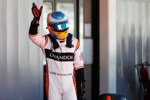 Circuit de Catalunya, Barcelona, Spain. Saturday 13 May 2017. Fernando Alonso, McLaren, waves to his home fans after Qualifying. World Copyright: Glenn Dunbar/LAT Images ref: Digital Image _X4I6731