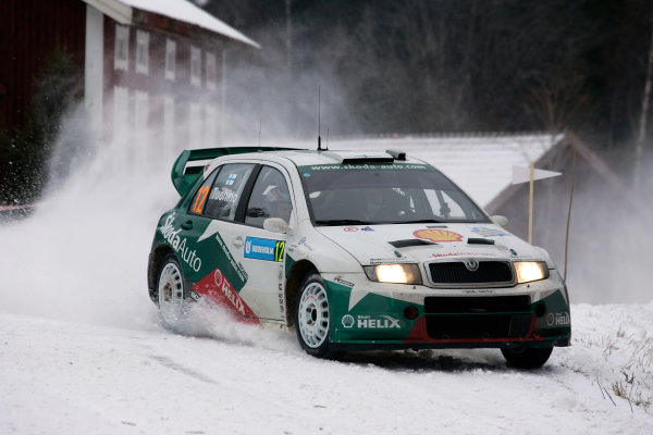 2005 FIA World Rally Champs. Round two Swedish Rally.10th-13th February 2005.Janne Tuohino, Skoda, action.World Copyright: McKlein/LAT