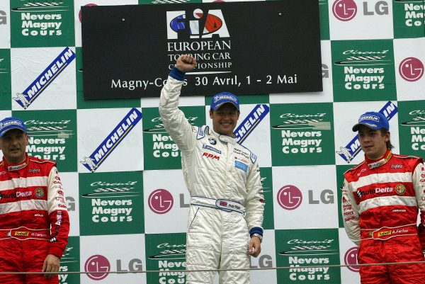 2004 European Touring Car (ETCC) ChampionshipMagny-Cours, France. 1st - 2nd May 2004.Race 2 podium - 1st, Andy Priaulx (BMW 320i), 2nd, Gabriele Tarquini (Alfa Romeo 156 S2000) and 3rd Augusto Farfus.World Copyright: Photo4/LAT Photographicref: Digital Image Only