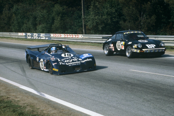 Le Mans, France. 10th - 11th June 1978.Guy Edwards/Ian Grob (IBEC P6 Hesketh 308LM), retired, passes Anny-Charlotte Verney/Xavier Lapeyre/Francois Servanin (Porsche Carrera RSR), 12th position, action. World Copyright: LAT PhotographicRef: 78LM23.