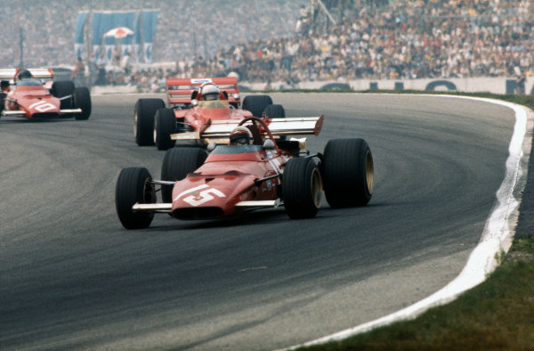 Hockenheim, Germany. 31st July - 2nd August 1970.Clay Regazzoni (Ferrari 312B), retired, leads Jochen Rindt (Lotus 72C-Ford), 1st position, and Jacky Ickx (Ferrari 312B), 2nd position , action. World Copyright: LAT Photographic.Ref:  70GER