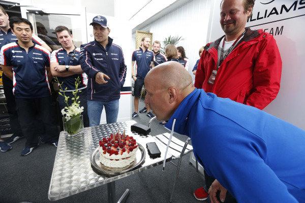 8th June 2013 Valtteri Bottas, Williams F1 celebrates his father, Rauno Bottas'  World Copyright: Charles Coates/  ref: Digital Image _N7T6089