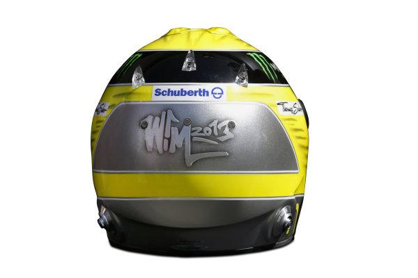 Albert Park, Melboune 14th March 2013 The helmet of Nico Rosberg, Mercedes AMG. World Copyright: LAT Photographic ref: Digital Image DKAL8830