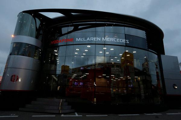 Circuit de Catalunya, Barcelona, Spain 10th May 2013 The McLaren Motorhome. World Copyright: Charles Coates/LAT Photographic ref: Digital Image _N7T3459