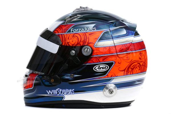 Albert Park, Melbourne, Australia. Helmet of Will Stevens, Manor Marussia F1.  Thursday 12 March 2015. World Copyright: LAT Photographic. ref: Digital Image 2015_Helmet_046