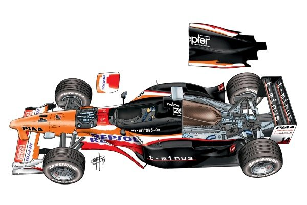 Arrows A20 1999 exploded overview