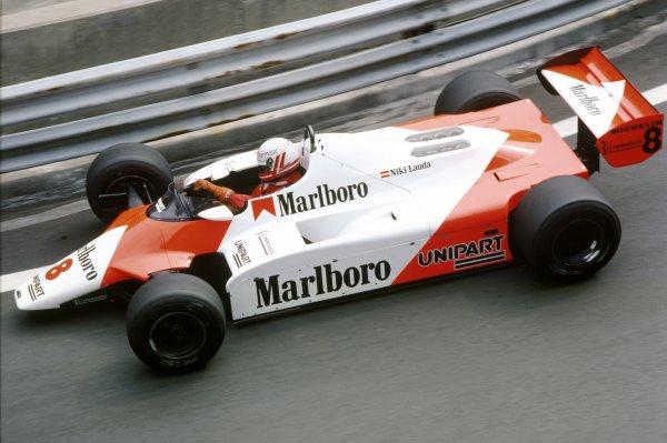 1982 Detroit Grand Prix.Detroit, United States. 6 June 1982.Niki Lauda, McLaren MP4/1B-Ford, retired, action.World Copyright: LAT PhotographicRef: 35mm transparency 82DET