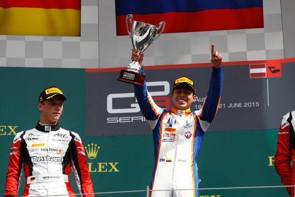 2015 GP3 Series Round 2. Red Bull Ring, Spielberg, Austria. Sunday 21 June 2015. Oscar Tunjo (COL, Trident) & Marvin Kirchhofer (GER, ART Grand Prix)  Photo:  Sam Bloxham/GP3 Media Service ref: Digital Image _G7C5899