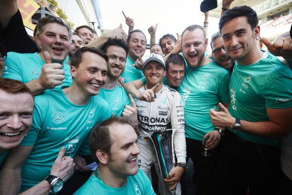 Circuit de Catalunya, Barcelona, Spain. Sunday 10 May 2015. Nico Rosberg, Mercedes AMG, 1st Position, celebrates with his team. World Copyright: Steve Etherington/LAT Photographic. ref: Digital Image SNE10378