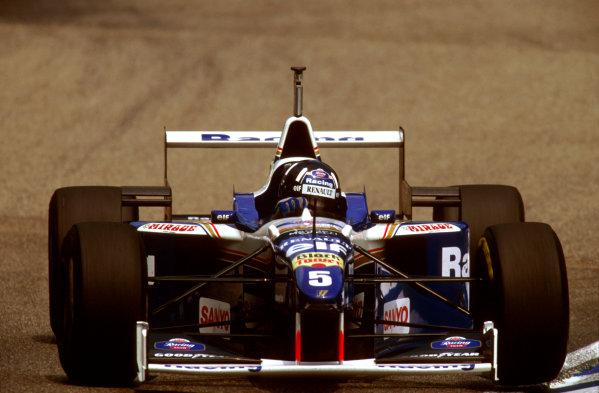 Hockenheim, German.26-28 July 1996.Damon Hill (Williams FW18 Renault) 1st position.Ref-96 GER 13.World Copyright - LAT Photographic