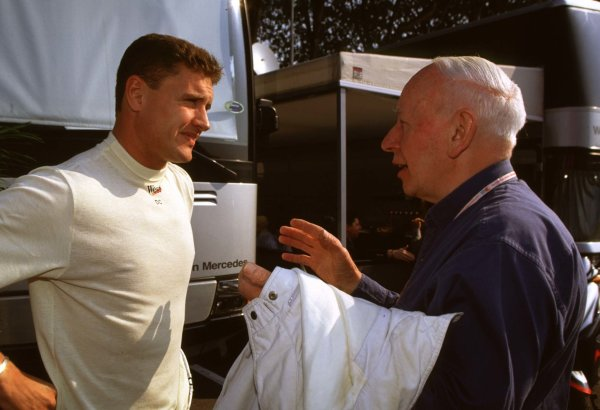1998 San Marino Grand Prix. Imola, Italy. 24-26 April 1998. John Surtees (right) and David Coulthard (McLaren Mercedes-Benz). World Copyright - Elford/LAT Photographic