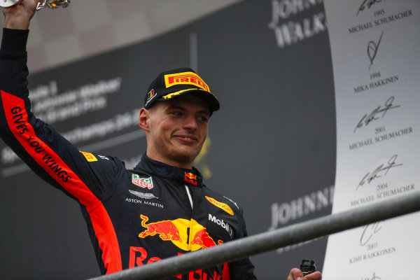 Max Verstappen, Red Bull Racing, 3rd position, on the podium.