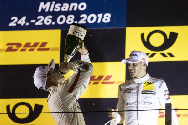 Podium: Race winner Joel Eriksson, BMW Team RBM and second place Edoardo Mortara, Mercedes-AMG Team HWA.
