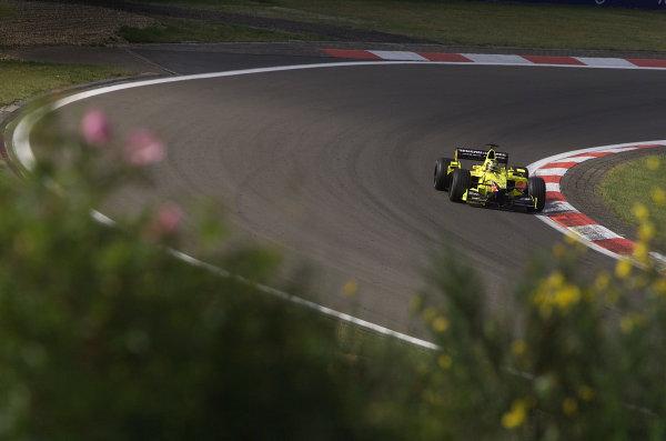 2001 European Grand Prix - RaceNurburgring, Germany. 24th June 2001.Heinz-Harald Frentzen, Jordan Honda EJ11, action.World Copyright: Steve Etherington/LAT Photographicref: 18mb Digital Image Only
