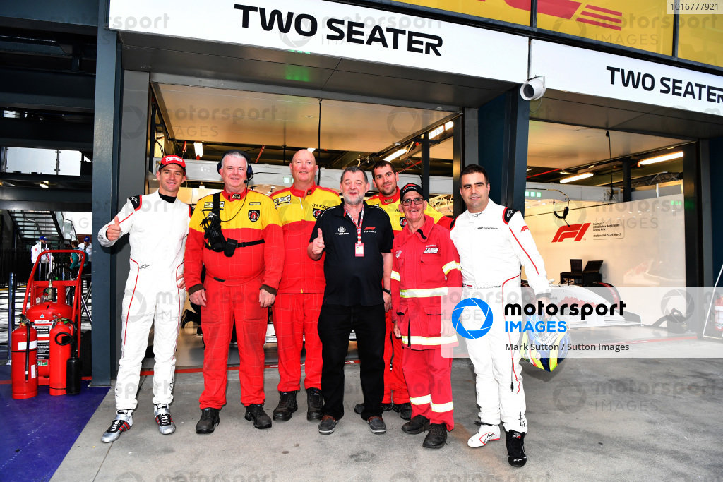 Paul Stoddart (AUS), Will Davison (AUS) F1 Experiences 2-Seater driver, Zsolt Baumgartner (HUN) F1 Experiences 2-Seater driver dn marshals at Formula One World Championship, Rd1, Australian Grand Prix, Race, Melbourne, Australia, Sunday 25 March 2018.