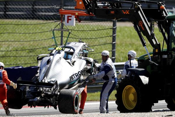 Car of Valtteri Bottas, Mercedes AMG W10 being recovered after crash