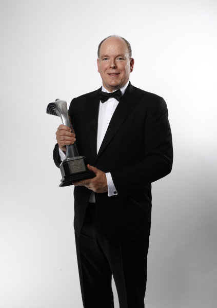 HSH Prince Albert II of Monaco with the Gregor Grant award for the Monaco Grand Prix
