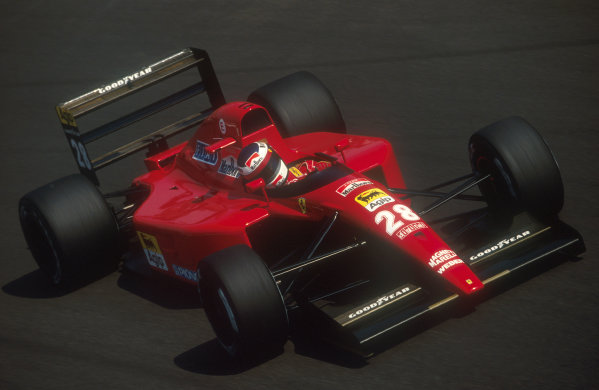1991 Italian Grand Prix.Monza, Italy.6-8 September 1991.Jean Alesi (Ferrari 643) at Parabolica. He exited the race with a blown engine.Ref-91 ITA 08.World Copyright - LAT Photographic