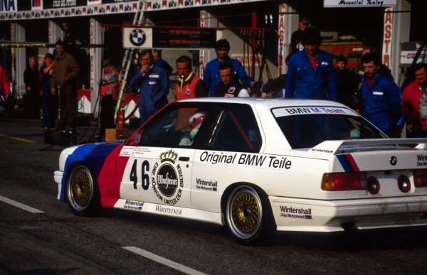 2nd placed Roland Ratzenberger (AUT) BMW M Team leaves the pits.European Touring Car Championship, Monza, Italy, 22 March 1987.