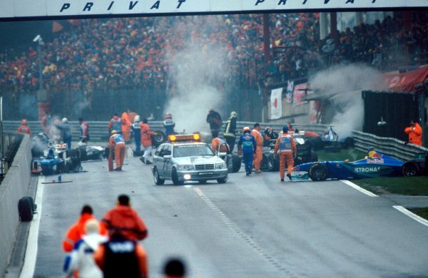 The aftermath of one of the worst ever F1 Crashes. Formula One World Championship, Rd 13, Belgian Grand Prix, Spa Francorchamps, Belgium, 30 August 1998