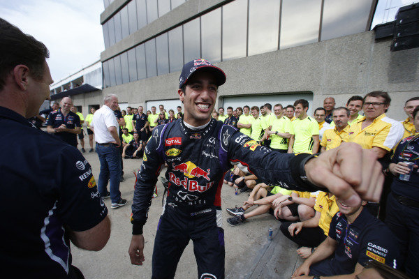 Circuit Gilles Villeneuve, Montreal, Canada. Sunday 8 June 2014. Daniel Ricciardo, Red Bull Racing, 1st Position, celebrates with his team. World Copyright: Steven Tee/LAT Photographic. ref: Digital Image _L4R9187