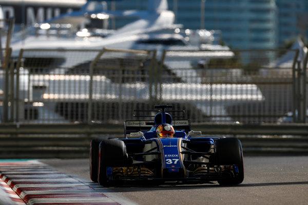 Yas Marina Circuit, Abu Dhabi, United Arab Emirates. Wednesday 29 November 2017. Charles Leclerc, Sauber C36 Ferrari.  World Copyright: Zak Mauger/LAT Images  ref: Digital Image _56I6370