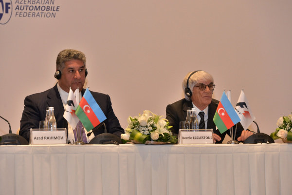 (L to R): Azad Rahimov (AZ) Azerbaijan Minister of youth and sport, Bernie Ecclestone (GBR) CEO Formula One Group (FOM). Baku European Grand Prix Street Circuit Press Event, Baku, Azerbaijan, 7 October 2014.