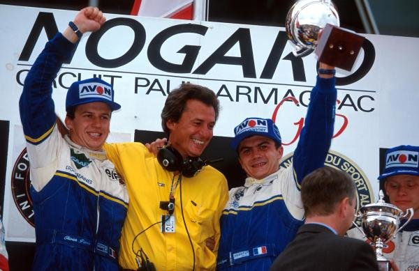 The podium (L to R): Olivier Panis (FRA) DAMS who was punted off the track into retirement but still claimed the championship by one point; DAMS owner Jean Paul Driot; race winner Frank Lagorce (FRA) DAMS; Emmanuel Collard (FRA) third. International Formula 3000 Championship, Nogaro, France, 10 October 1993.