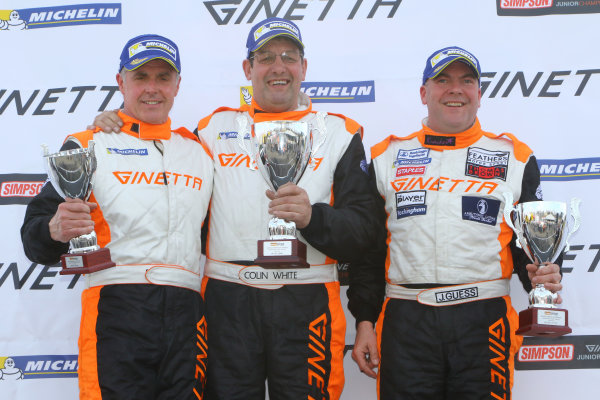Ginetta GT4 Supercup, Brands Hatch, 2-3 April 2016. Podium, Grahame Tilley (GBR) Raw Motorsport Ginetta G55, Colin White (GBR) CWS 4x4 Spares Ginetta G55, James Guess (GBR) Century Motorsport Ginetta G55  World copyright. Ebrey/LAT Photographic