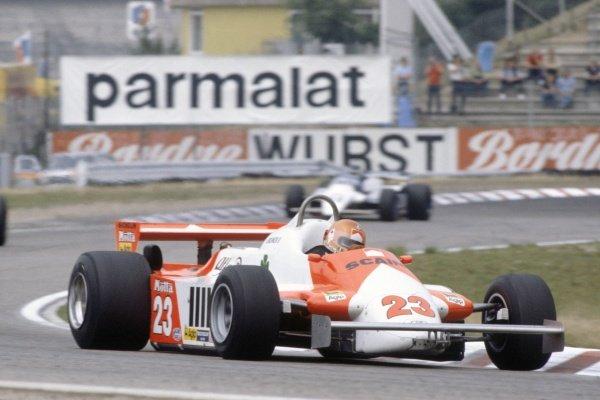 1981 German Grand Prix.Hockenheim, Germany. 31 July-2 August 1981.Bruno Giacomelli (Alfa Romeo 179C), 15th position.World Copyright: LAT PhotographicRef: 35mm transparency 81GER17