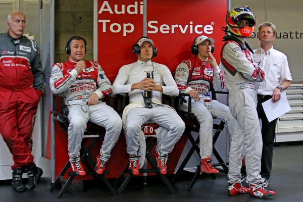 (L to R): Dr Wolfgang Ullrich (GER) Audi Sport Team Manager, Tom Kristensen (DEN), Andre Lotterer (GER), Oliver Jarvis (GBR) and Allan McNish (GBR).  Le Mans 24 Hours, Le Mans, France, 12-14 June 2014.