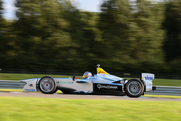 FIA Formula E Test Day, Donington Park, UK.  19th August 2014. Frank Kanayet. Photo: Malcolm Griffiths/FIA Formula E ref: Digital Image F80P9864