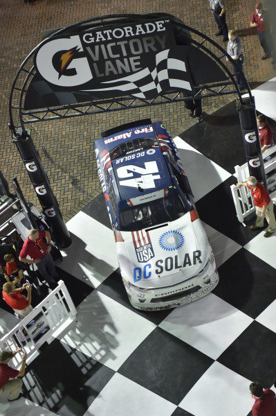 #42: Kyle Larson, Chip Ganassi Racing, Chevrolet Camaro DC Solar wins the Xfinity race in Daytona.