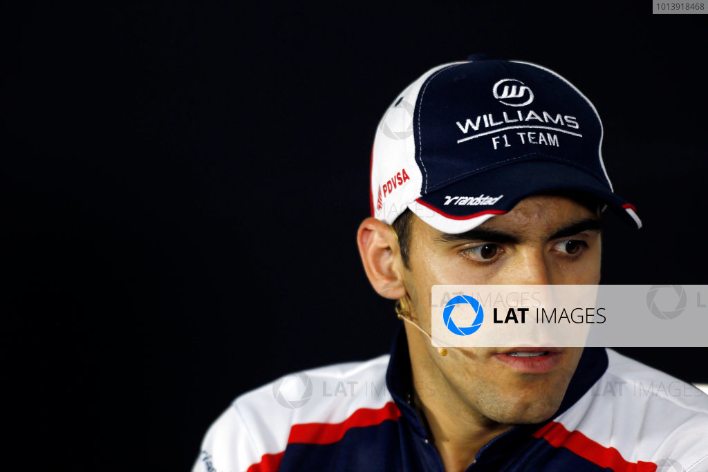 Bahrain International Circuit, Sakhir, Bahrain Thursday 18th April 2013 Pastor Maldonado, Williams F1, in the Thursday Press Conference. World Copyright: Charles Coates/LAT Photographic ref: Digital Image _N7T8441