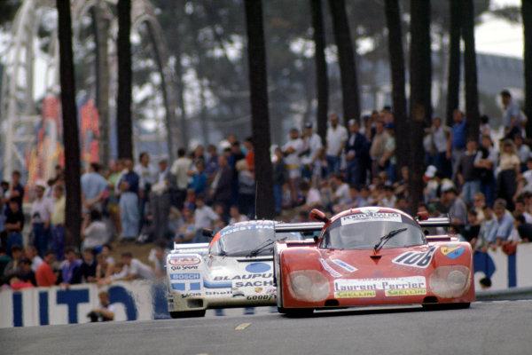 "1989 Le Mans 24 HoursLe Mans, France. 10th - 11th June.Robin Smith/""Stingbrace""/Vito Veninata (Tiga GC288-Ford Cosworth) leads ""John Winter""/Frank Jelinski/Pierre-Henri Raphanel (Joest Racing Porsche 962C).World Copyright: Murenbeeld/LAT Photographicref: 35mm Transparency Image"